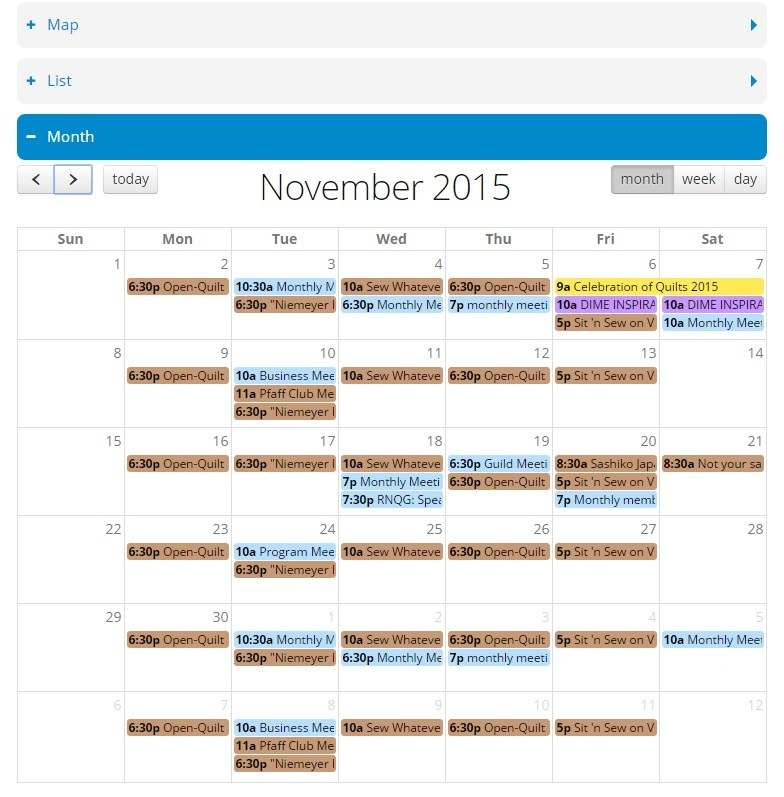 Quilter's Events Trip Planner